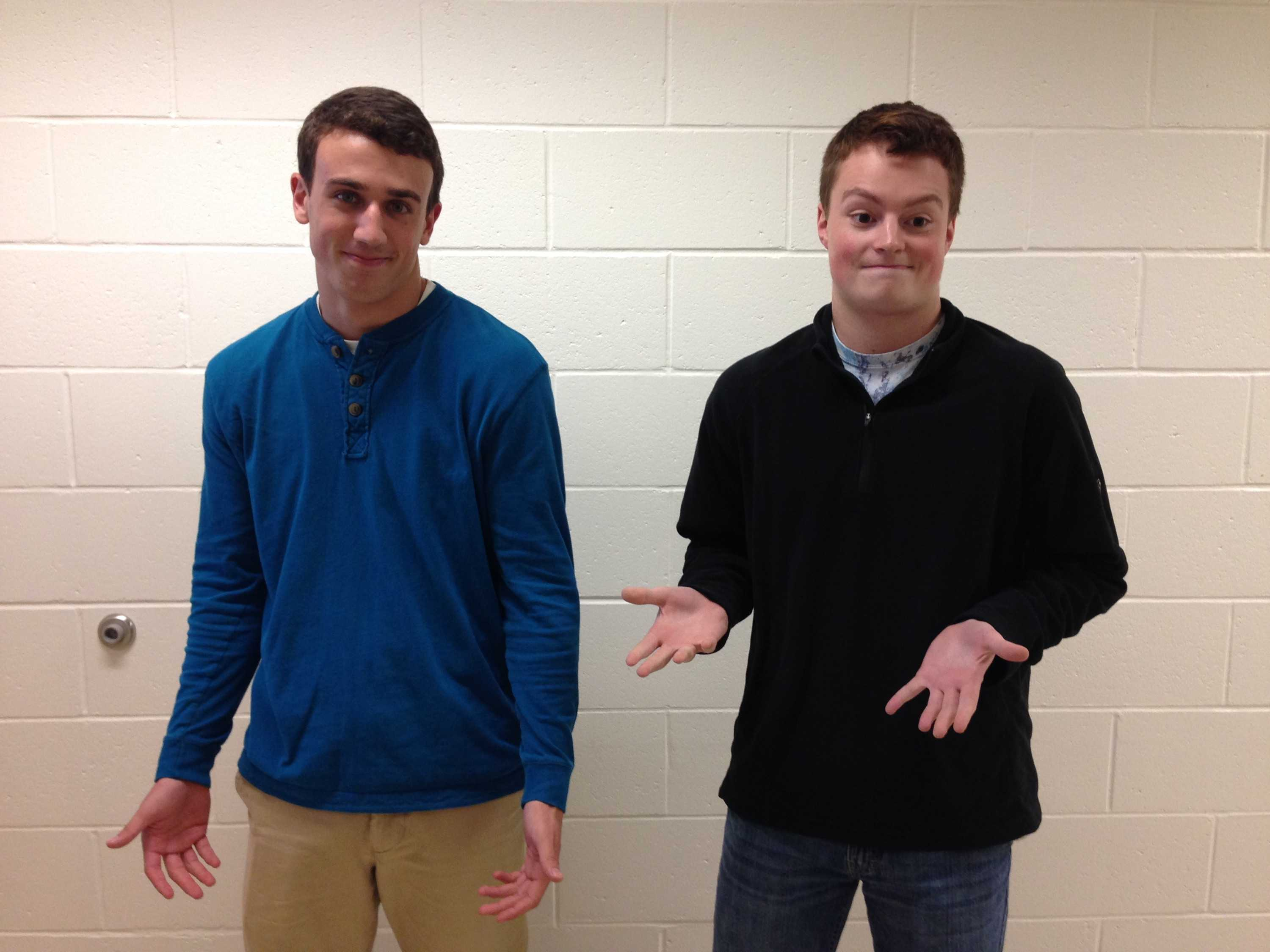 Seniors Jake Gore and Brendan Clark pose just minutes after hearing Principal Tom Mead's final decision regarding their positions on October 23.