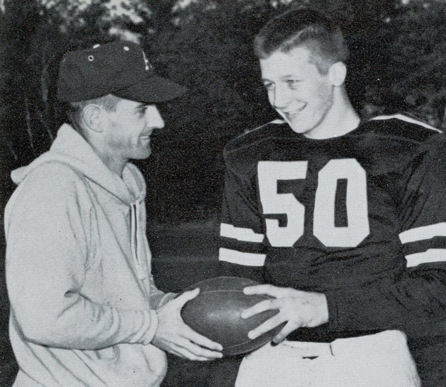 Dick+Walsh+at+the+first+ARHS+Thanksgiving+Day+football+game+with+captain+Paul+Pisinski+in+1959.+