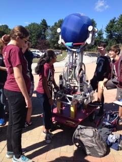 The Robotics Team reminisces building their huge robot with Seniors: Jessie Siegler, Manisha Rajagoopta, Dan Hogan, and Sven Patterson.