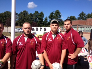 Standing intimidatingly, seniors Chris Gwyn and Will Moore stand alongside the Rugby Team.