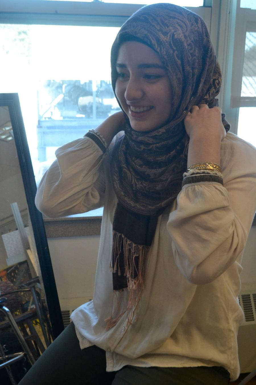 Senior Nargis Rajai wears her hijab as part of her Islamic culture.