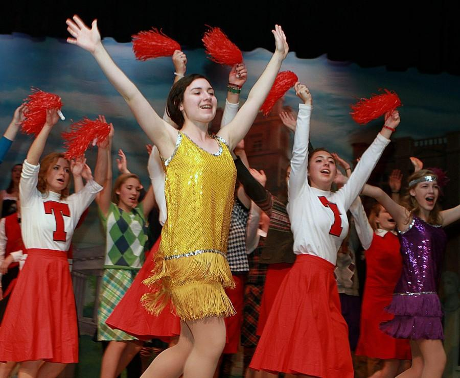 Gabrielle Russo, center, a senior at Algonquin Regional High School, leads dancers during practice for the musical Good News on Sunday afternoon. Serving as dance captain for the production, Russo will perform with the cast during the production set in the 1920s. Good News will run Dec. 3, 4 and 5 at 7 p.m.