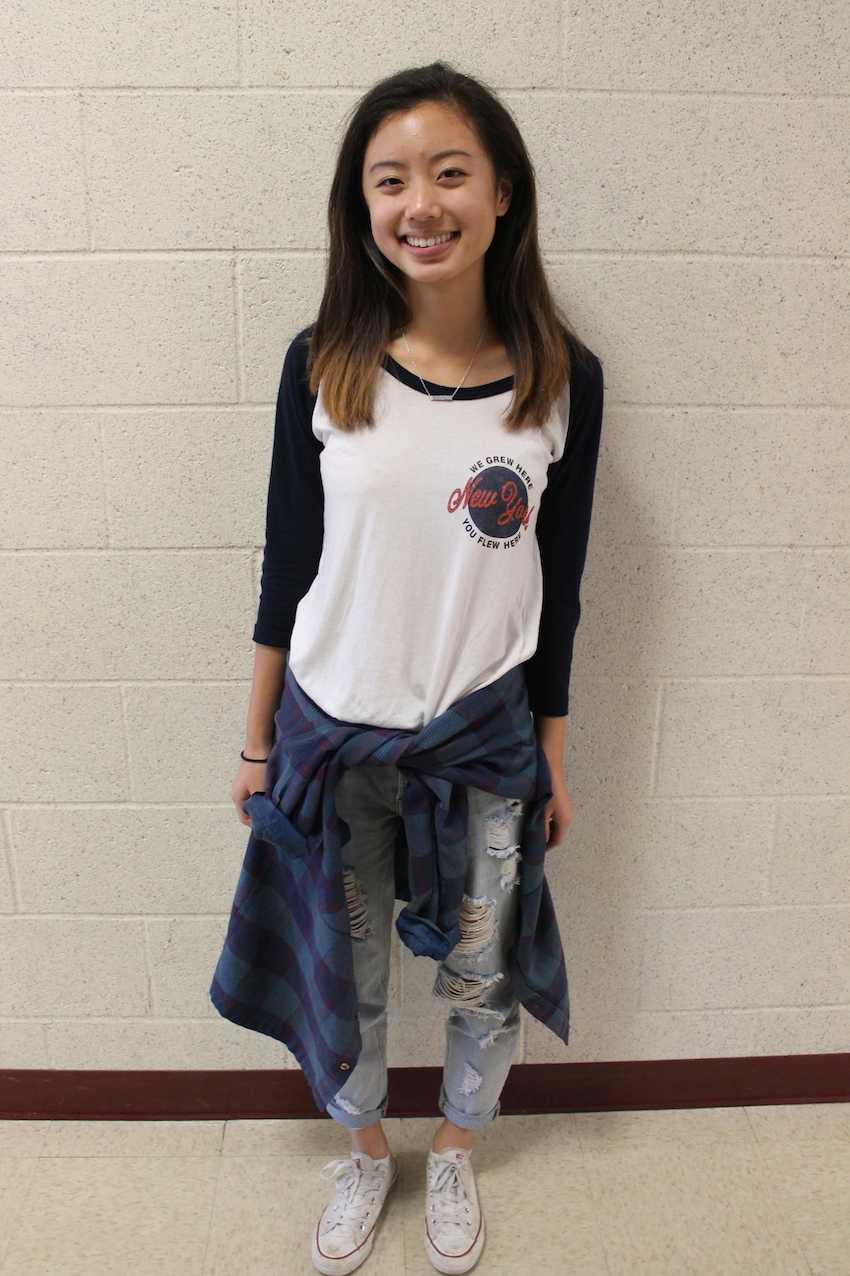 Sophomore Jessica Yin sports signature '90d trends.