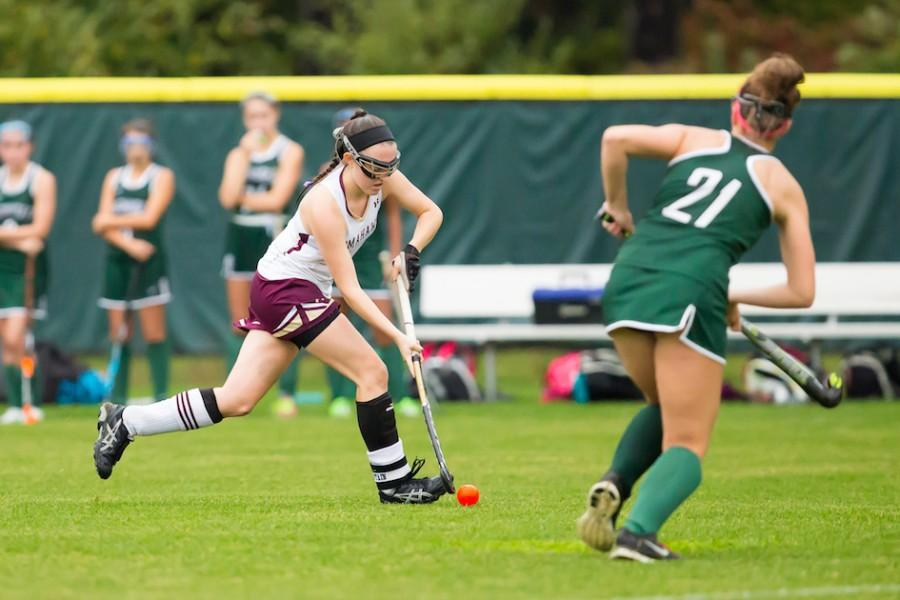 Senior+captain+Baelyn+Duffy+races+with+the+ball+to+score+a+goal+against+Wachusett.+