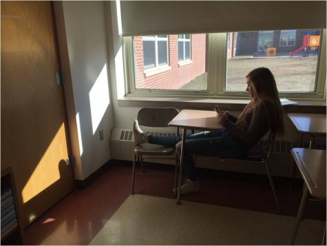 Sophomore Ava Shaw is taking a break from her school work to relax during her free time.