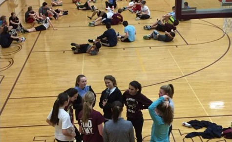 During a long, hard track practice sophomores Olivia Giles, Leah Lidsky, Jenn O'Sullivan, Rebecca Poretsky and Emily Hong are alongside juniors Mackenzie Smith and Kelly Morin. They are preparing for the final part of the workout led by senior captain, Kaitlyn Shreeve.