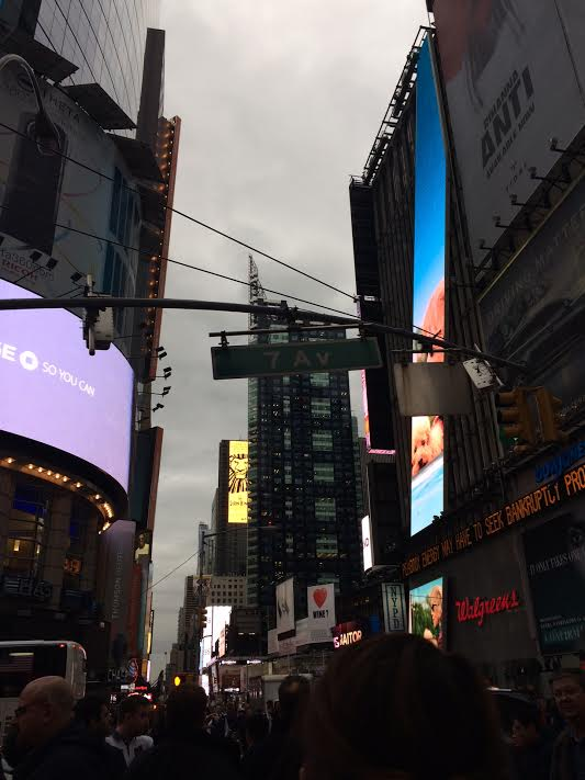 Harbinger and Sachem members explore the streets of Times Square.