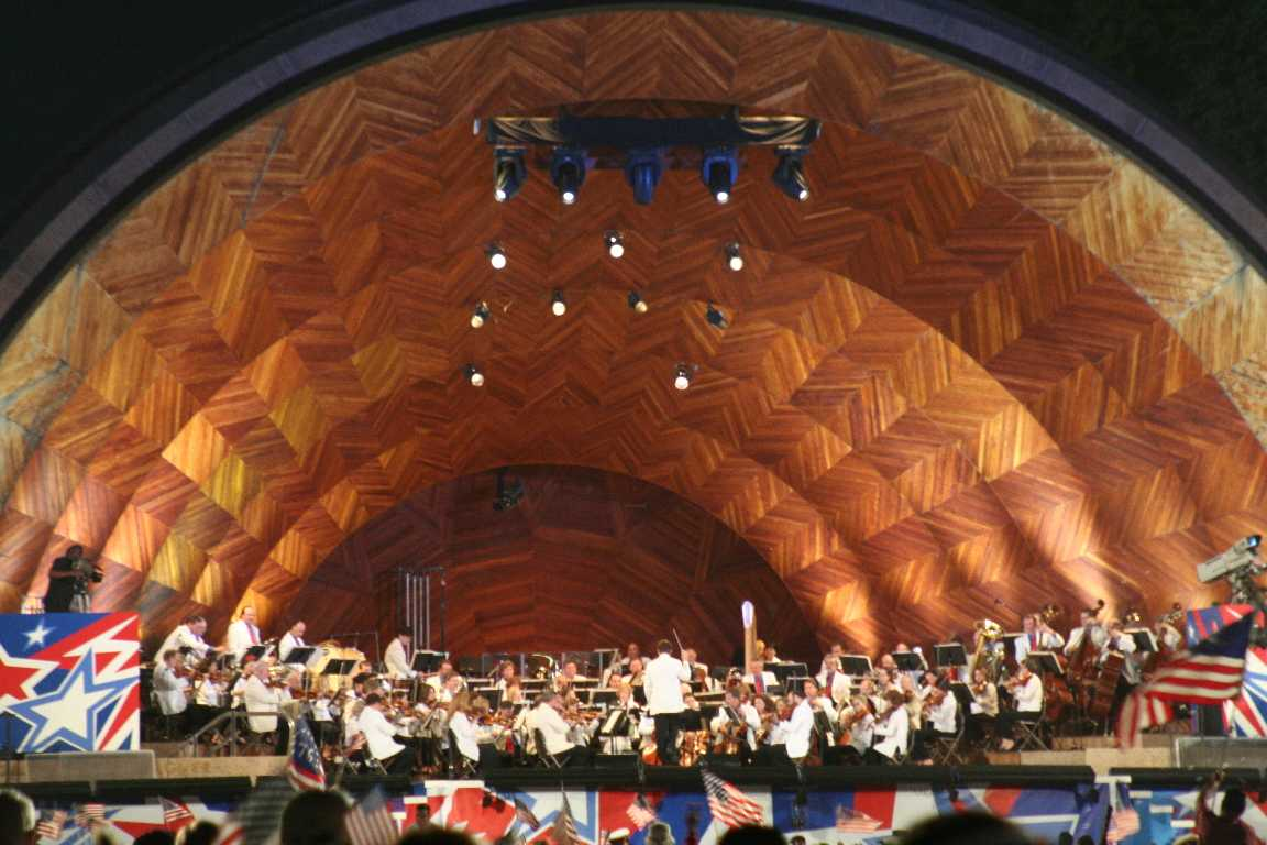 The Hatch Shell in Boston's Back Bay has been the venue for many performances including the Boston Pops Orchestra.