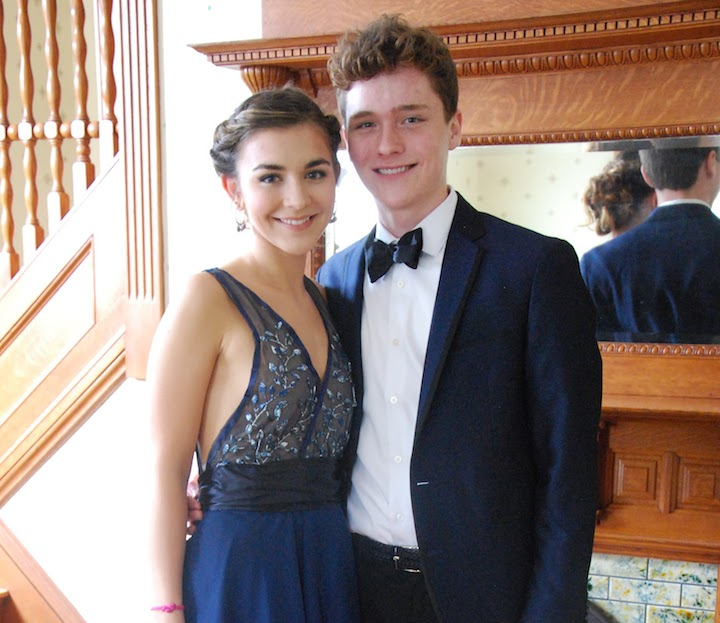 Junior Max Donahue designed and crafted a dress for his date, senior Bella Roy.