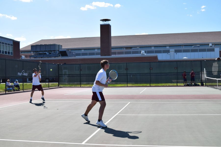 Freshman+Chris+Wang+and+Sophomore+Will+Koziel+compete+in+a+doubles+match+against+Westborough+on+May+4.