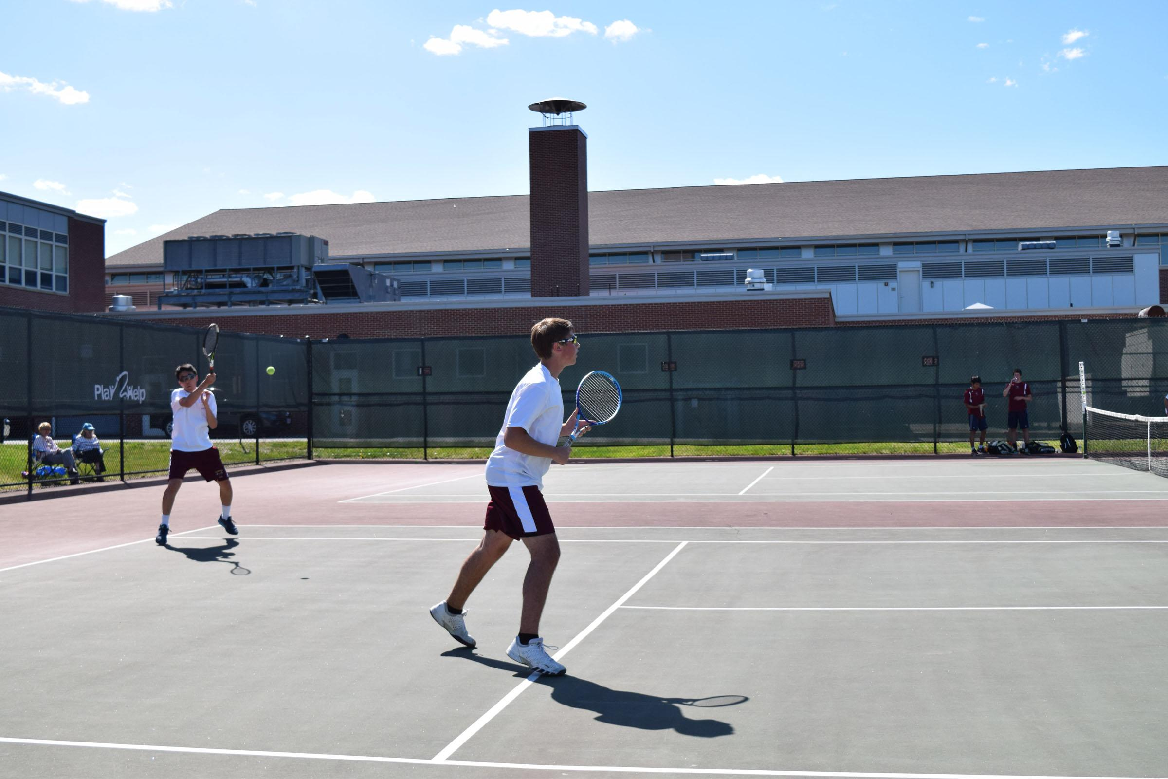 Freshman Chris Wang and Sophomore Will Koziel compete in a doubles match against Westborough on May 4.