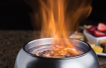 The Melting Pot is located at 92 Worcester Road in Framingham and is famous for its fondue dishes.