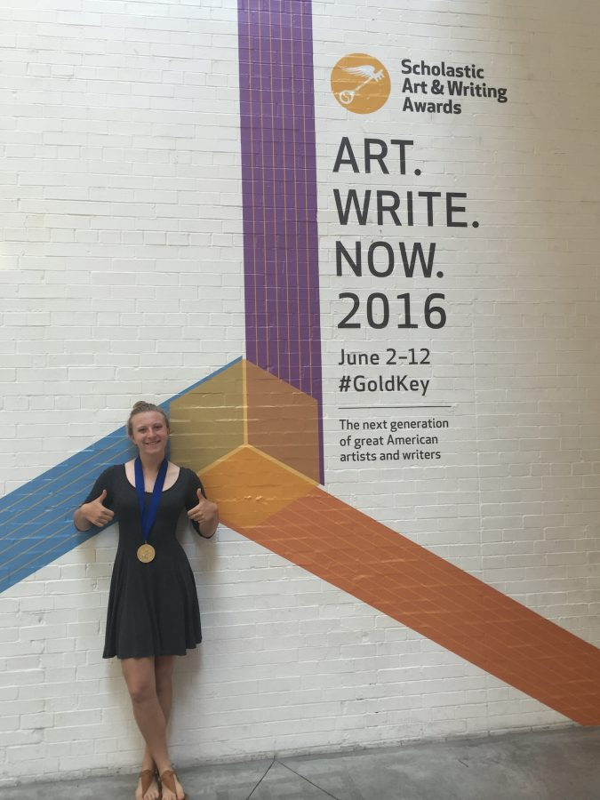 Freshman Elsa Ray poses at the Scholastic Art and Writing Awards in New York on June 1.
