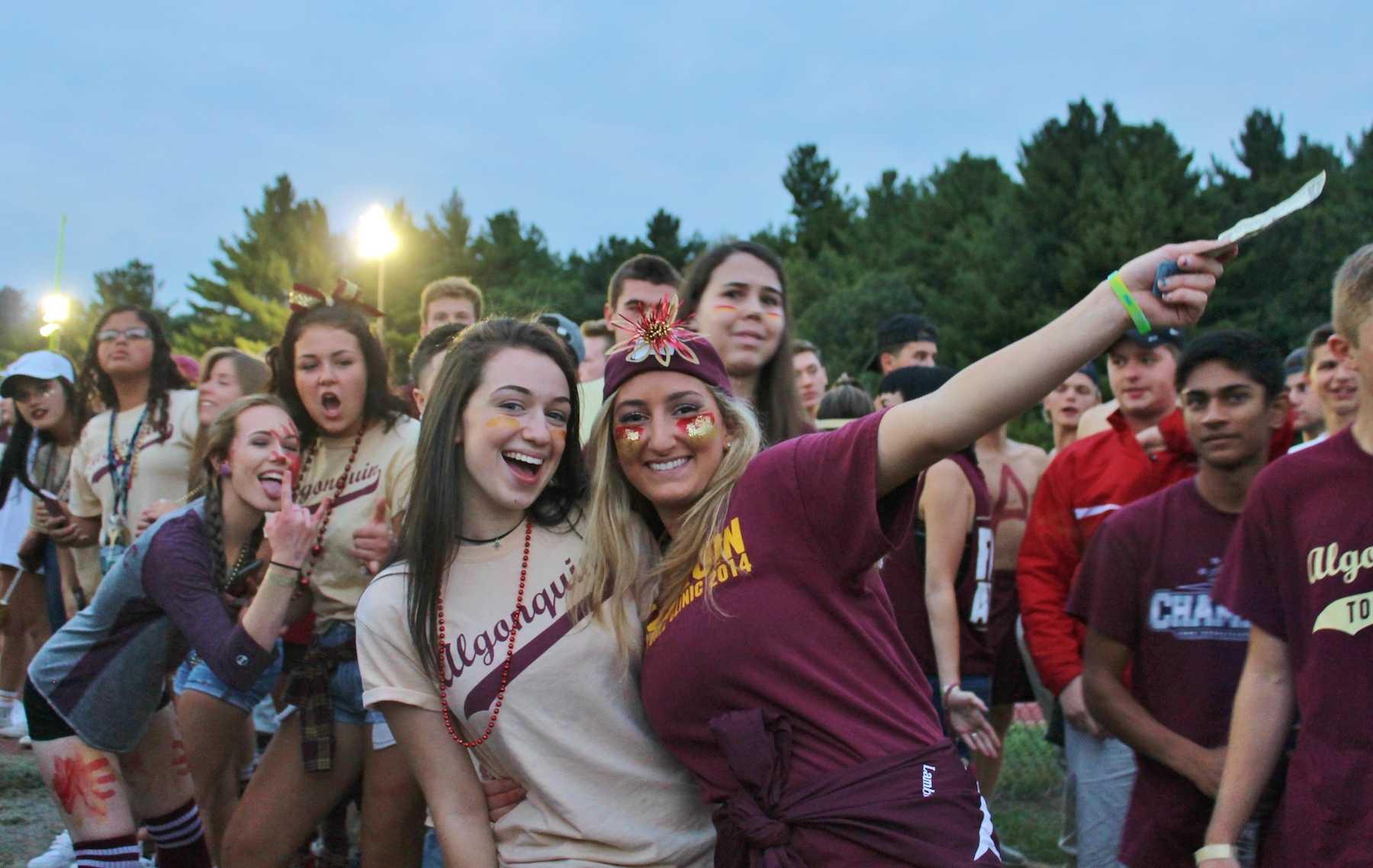 Seniors Katie Miller and jackie Lambert show off their school spirit.