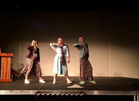 Seniors Molly ODriscoll, Krista Leach, and Samantha Brazo perform in the Black Box.