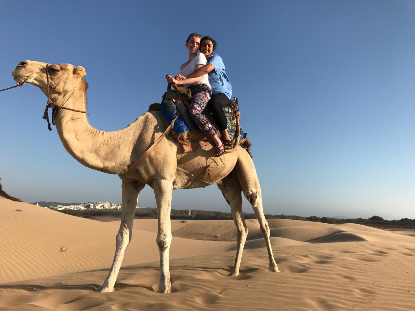 Senior Rowan Moreland's (front) aspirations to pursue national security and military intelligence brought her to Morocco on a scholarship funded by the state department to study Arabic language and culture.