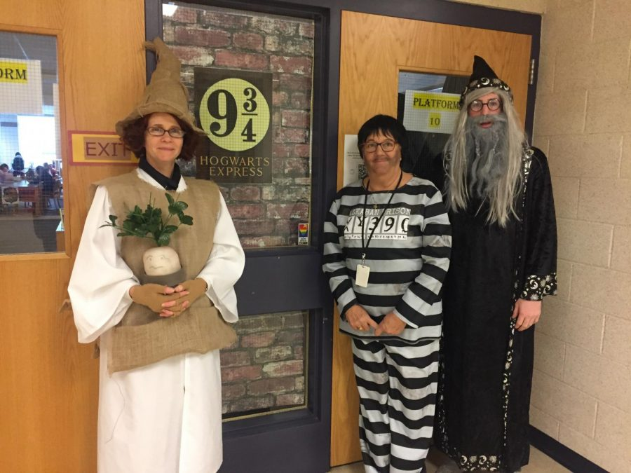 Librarians Kimberly Honey, Joann Amberson and Aidan Cremin