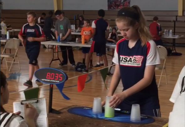 Sophomore Allison Tobin is ranked nationally as a part of the USA Sport Stacking team.
