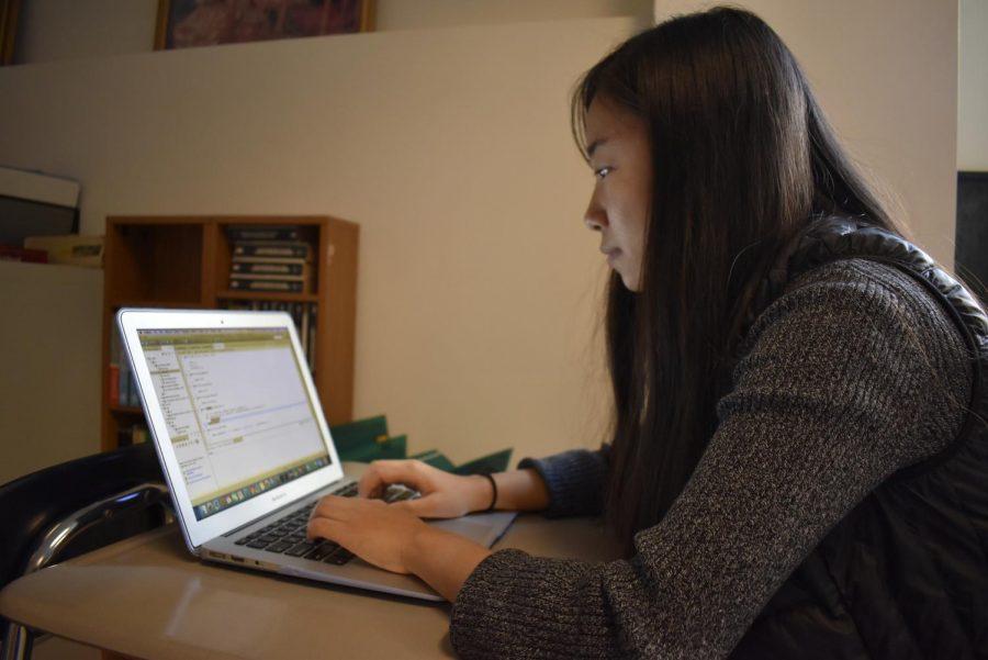 Senior Maria Tu is the sole female programmer in the programming club.