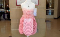 "Fashion and retail class designs costumes from recycled materials for ""Legally Blonde"""