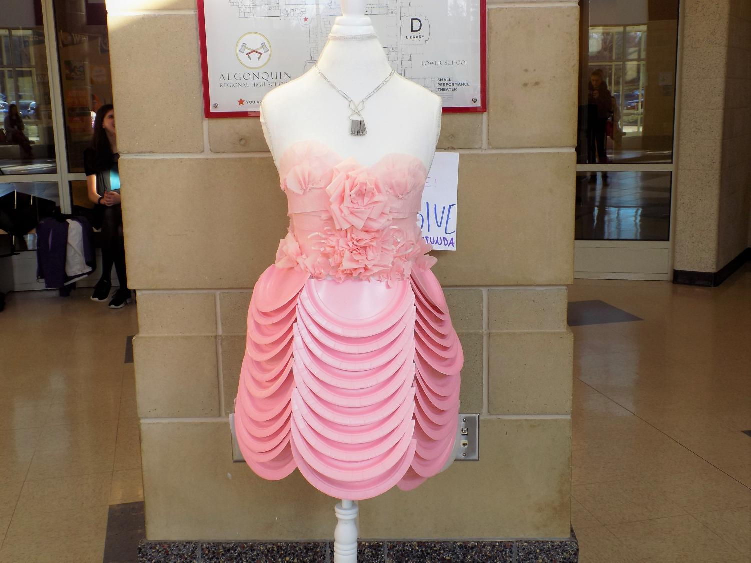 Inspired by the musical Legally Blonde, the fashion and retail class designed pieces from recycled materials, incorporating sustainability into their design.