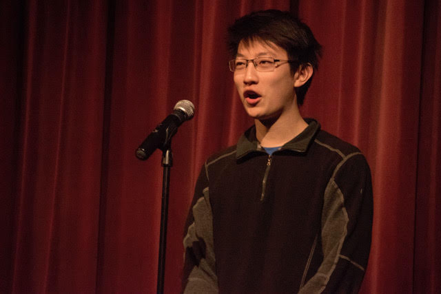 Sophomore Joe Zhang advances in the Poetry Out Loud competition.