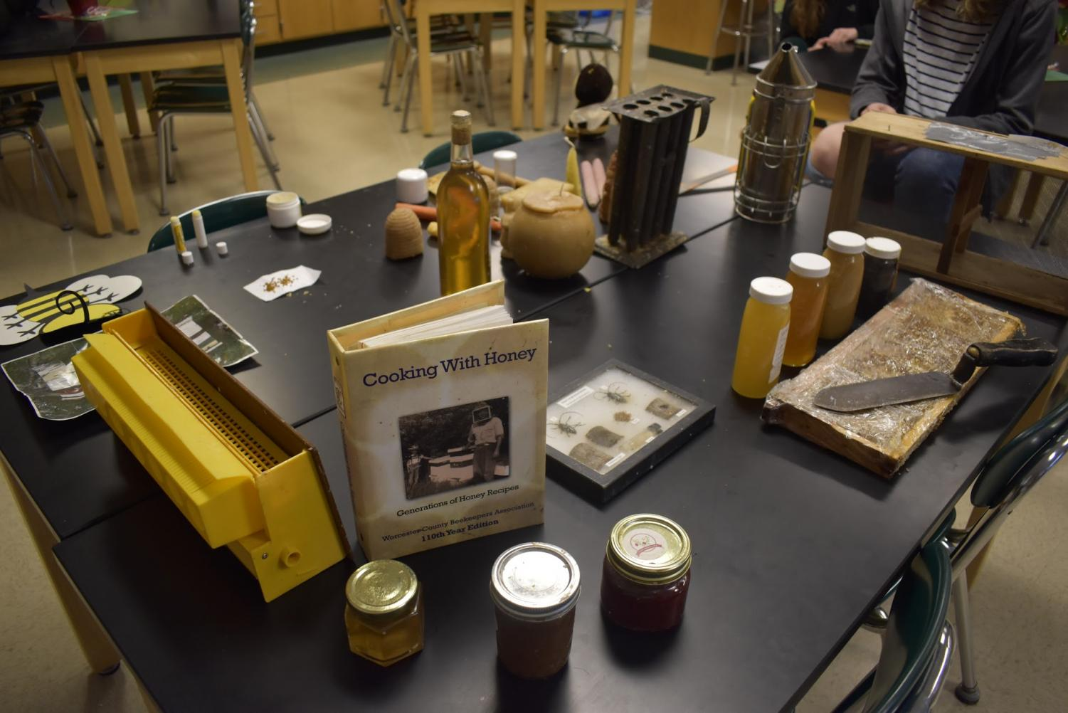 Bee-keeping related items such as honey and recipe books are often used during meetings after school most Tuesdays in D216.
