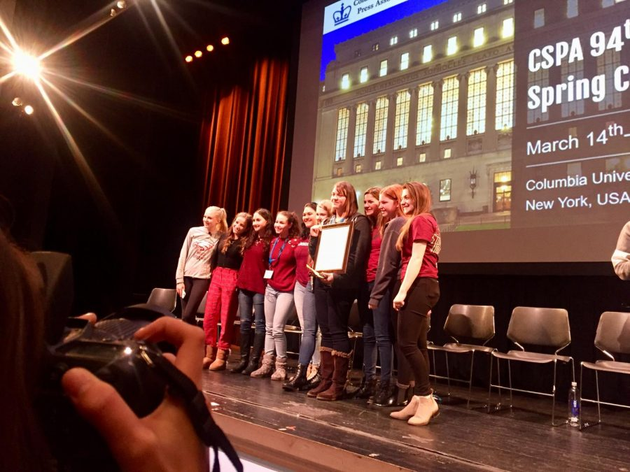 Marjory Stoneman Douglas High School journalists received a Columbia Scholastic Press Association Gold Crown Award in New York City on March 16.