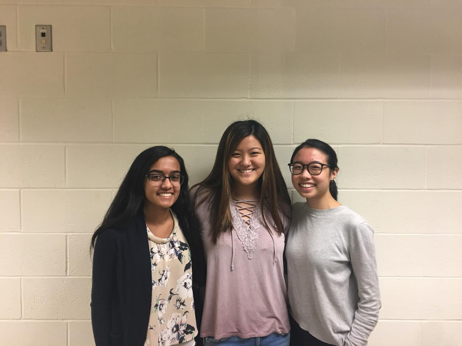 Senior presidents Jyothi Polackcal [left], Claire Duffy [middle] and Clarissa Wong [right] share their thoughts on the goal of HOSA and answer other questions regarding the club.