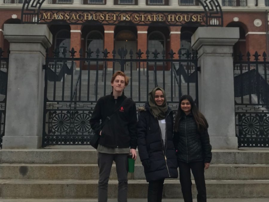 Juniors+Rianna+Mukherjee%2C+Joe+Gordon%2C+and+Mariam+Ibrahimi+traveled+to+the+Massachusetts+State+House+on+April+3+to+lobby+for+a+Civic+Engagement+Bill.