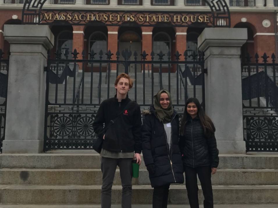 Juniors Rianna Mukherjee, Joe Gordon, and Mariam Ibrahimi traveled to the Massachusetts State House on April 3 to lobby for a Civic Engagement Bill.