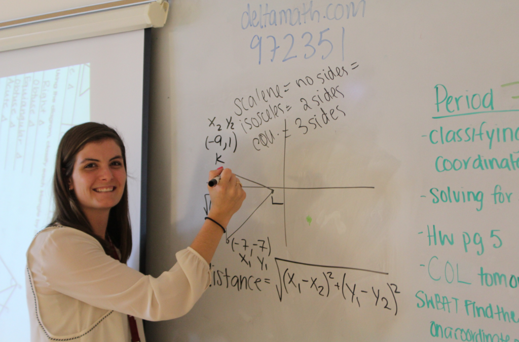 Selena Giroux begins a full-time job in the math department.
