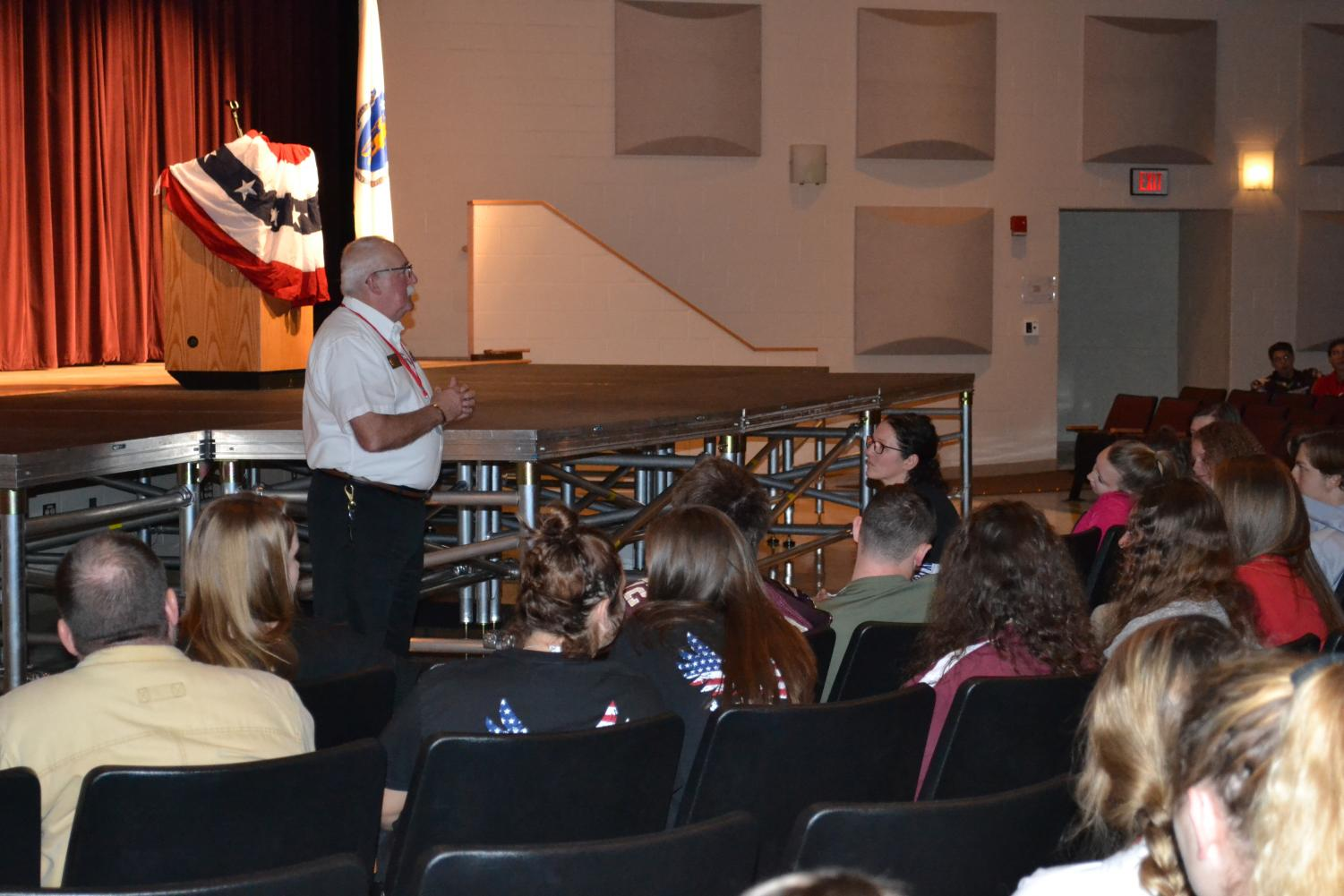 Students listen intently as veteran and Southborough resident Steve Whynot talks about his experience in the United States Armed Forces.