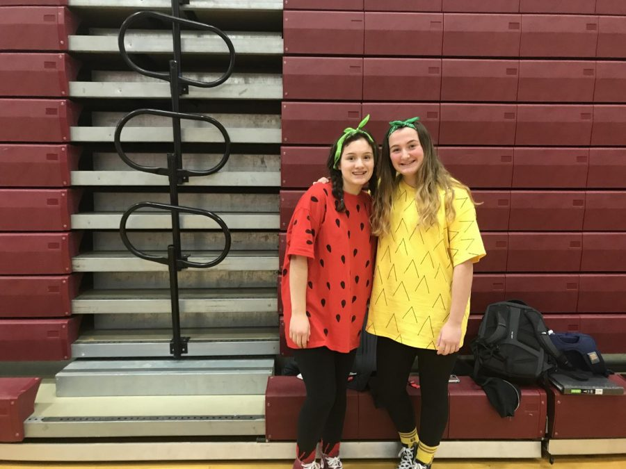 """""""We saw it online as an easy two person costume and we just had to do it, said junior Emma Moore [left]. Moore matched with junior Simone Fiore [right]."""