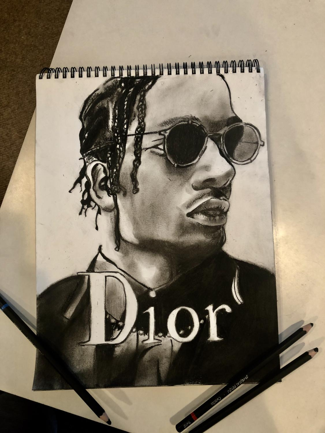 Senior Shree Sane channels artistic talents through a charcoal drawing of A$AP Rocky.