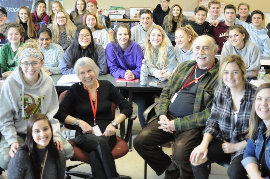 Marika Barnett and Jack Trompetter were surrounded by students, as they shared their experiences of the Holocaust.