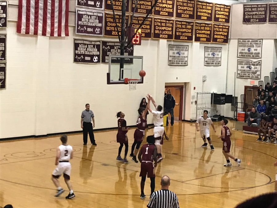 Senior+captain+Nick+Redden+shoots+in+the+paint+to+help+the+boys%27+basketball+team+beat+Doherty+66-60+on+December+7.++Redden+finished+with+17+points.+%0A