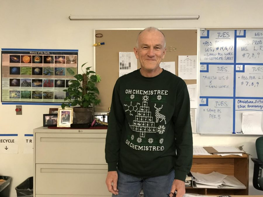"""""""It's festive for the holidays and it was a gift from one of my students,"""" science teacher Gerald Cushing said."""