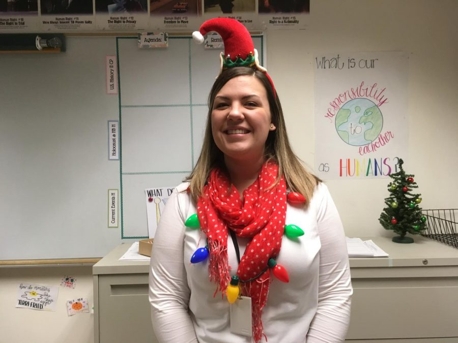 """""""This is what I call the lazy Christmas outfit because it's too hot for a sweater and [its] all the polyester Amazon stuff,"""" social studies department chair Brittany Burns said."""