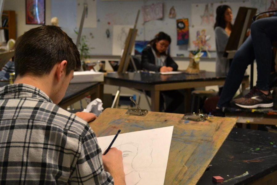 Using+pencil+as+their+medium+to+practice+portrait+drawing%2C+students+sketch+their+own+interpretations+of+the+models+before+them+in+art+teacher+George+Hancin%E2%80%99s+portrait+drawing+workshop.