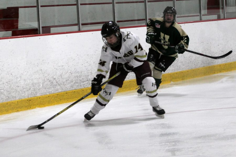 Curran takes a shot on goal during the second period. By the end of the period the T-Hawks were up 5-1.