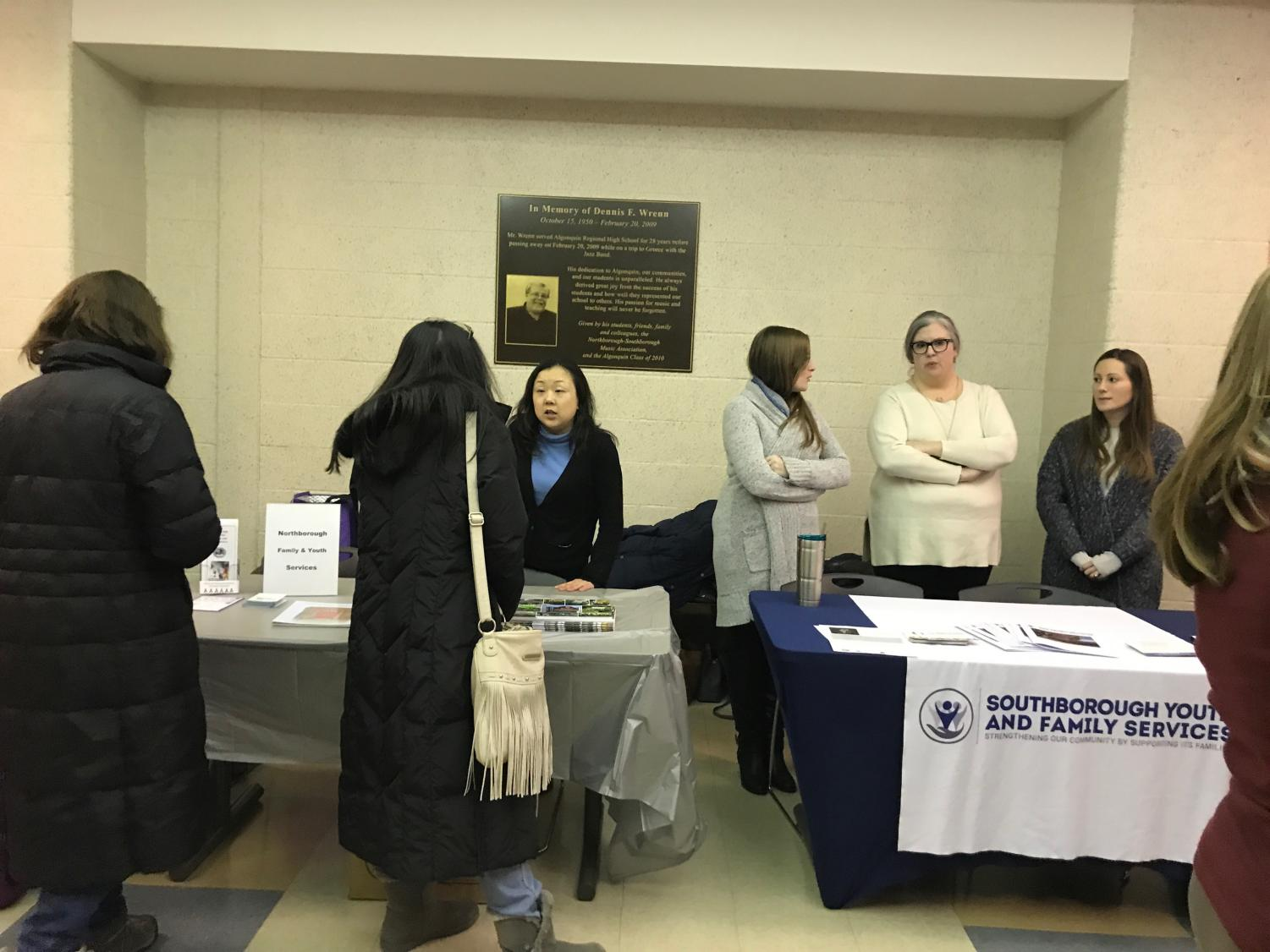 Local organization Southborough Youth and Family Services set up a booth outside of the auditorium where they informed parents of their available services, including addiction support and counseling free of charge for residents of Northborough and Southborough.