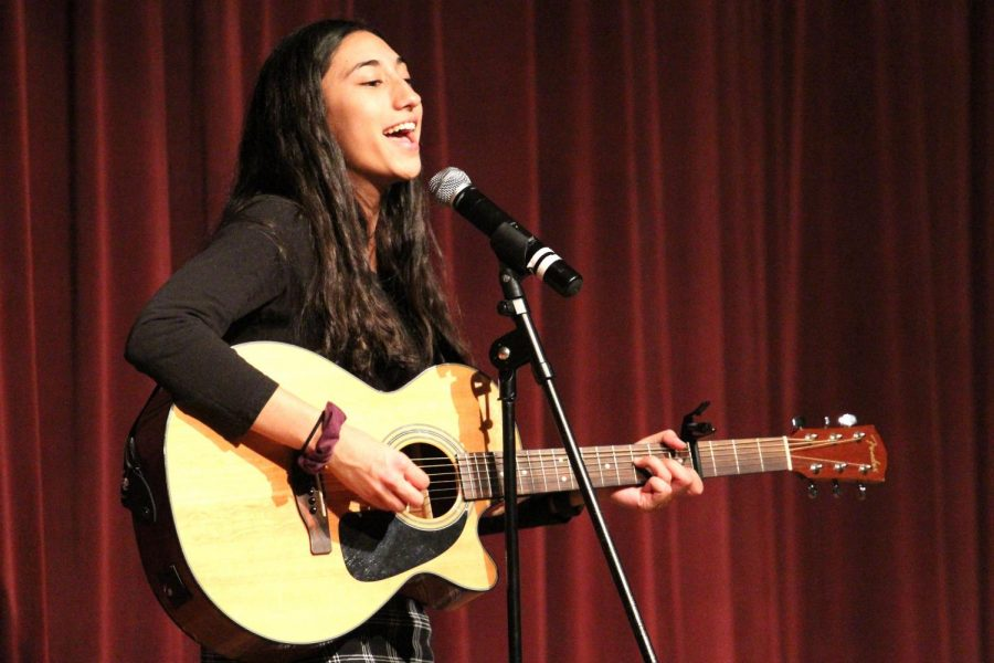 Freshman Priscilla DeCarvalho performed an original song, Victory, showcasing her creative talents and musical ability.