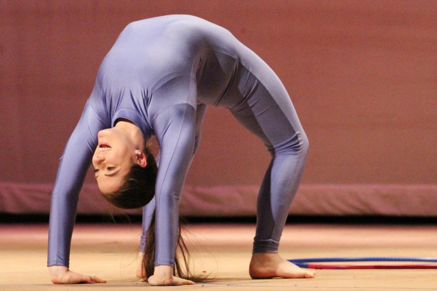 Junior Meredith Lapidas performed her contortionist routine for the variety show. The unique skill won her first place in the talent competition and a cash prize.