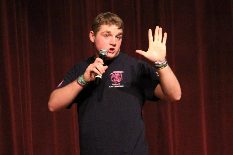 A natural comedian, sophomore Chris Carreras performed a stand-up routine and had audience members cracking up.