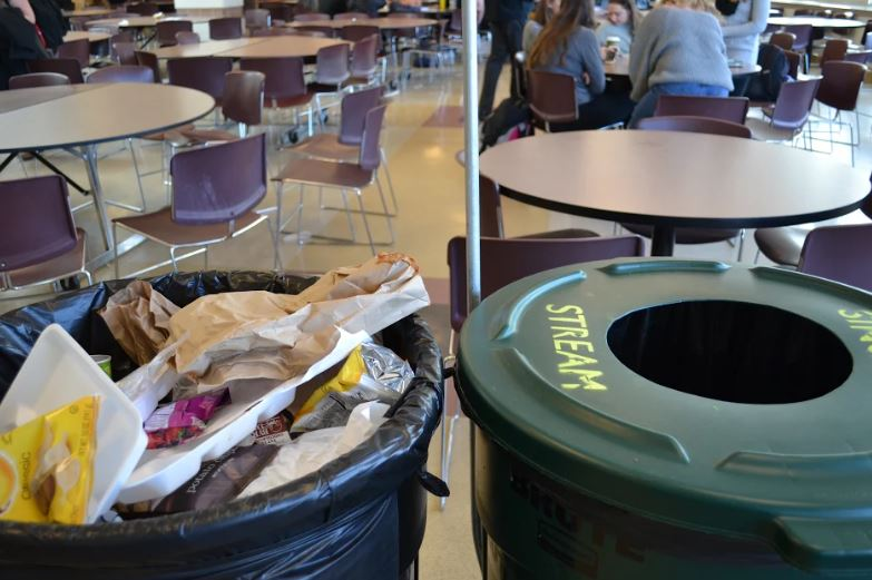 By second lunch, cafeteria trash cans fill to the brim with wastes while the Single Stream recycling bin is nearly untouched.