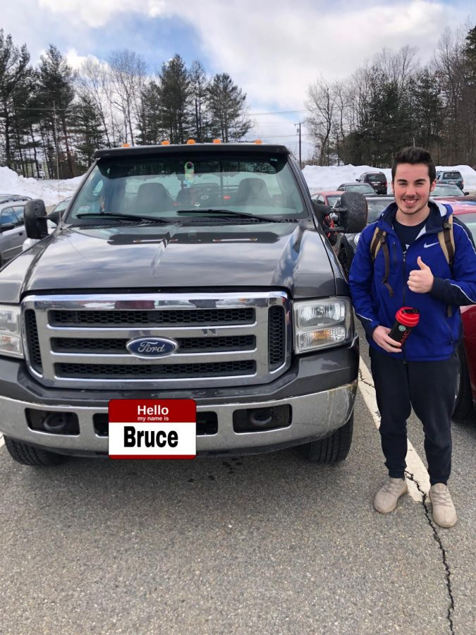Senior+Evan+Scott+gives+a+thumbs+next+to+his+2006+Ford+F-350%2C+Bruce.+