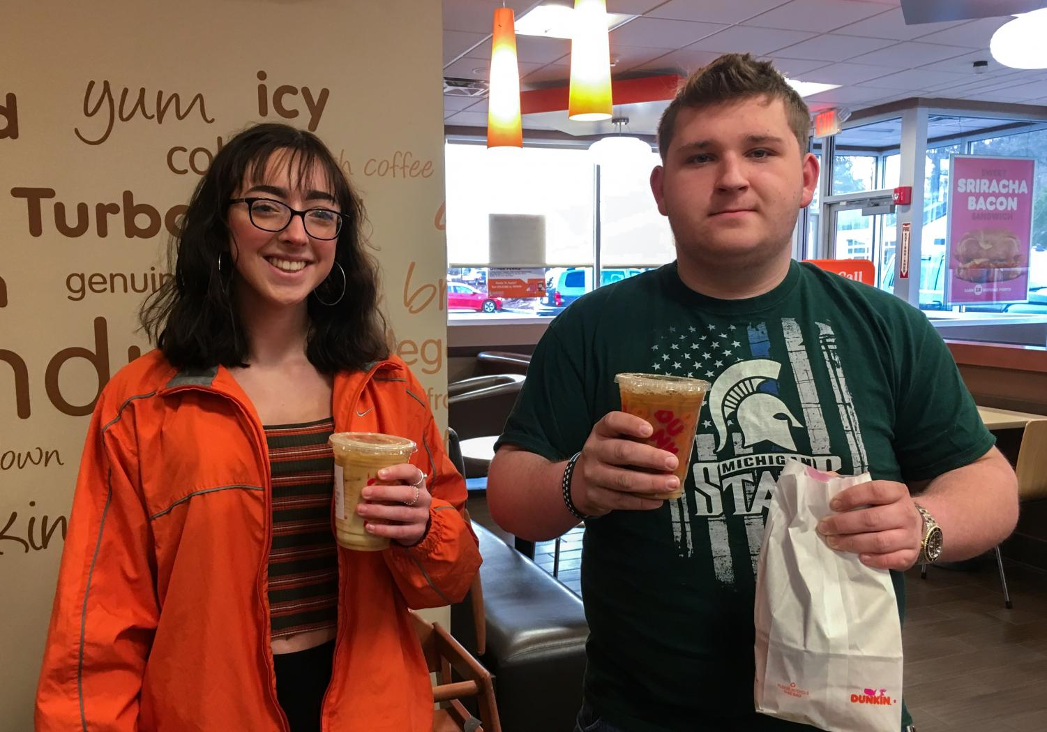 Freshman Jessica Kane and senior Jake Hathaway both go to the Northborough Dunkin' Donuts to buy a coffee every morning.