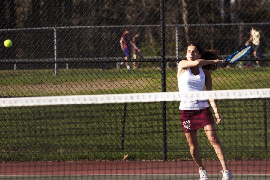 Senior+Mia+Barletta+falls+short+in+her+match+against+Nashoba+on+April+24.