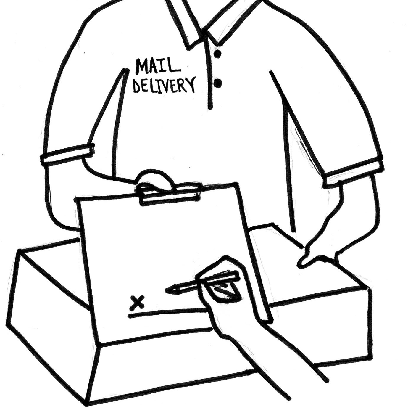 After signing for a package, mail deliveries take different paths through the school before reaching their destinations.
